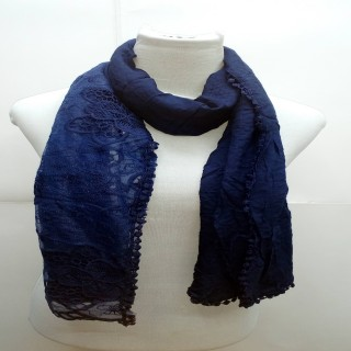Premium Ari Diamond Lace Stole-Dark Blue